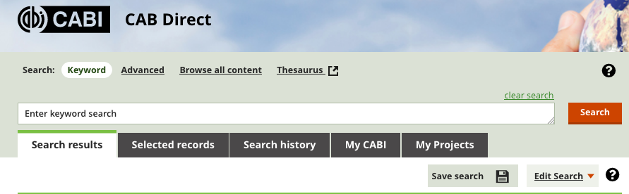 Image of CAB keyword search screen.