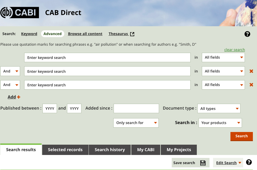 Image of CAB advanced search screen.