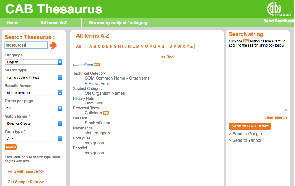 Image of CAB thesaurus entry for Mosquitoes.