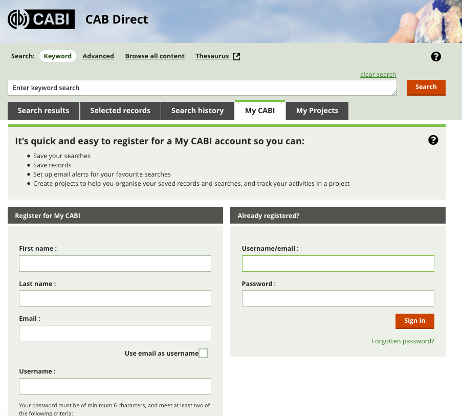 Image of the MyCAB tab and sign up form.