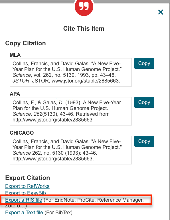JSTOR citation screenshot