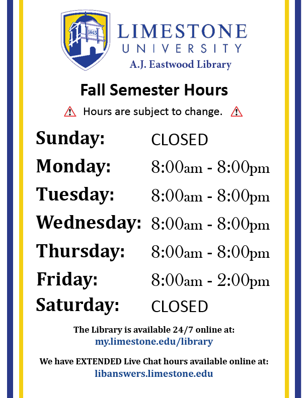 FA 2020 Library Hours (subject to change)