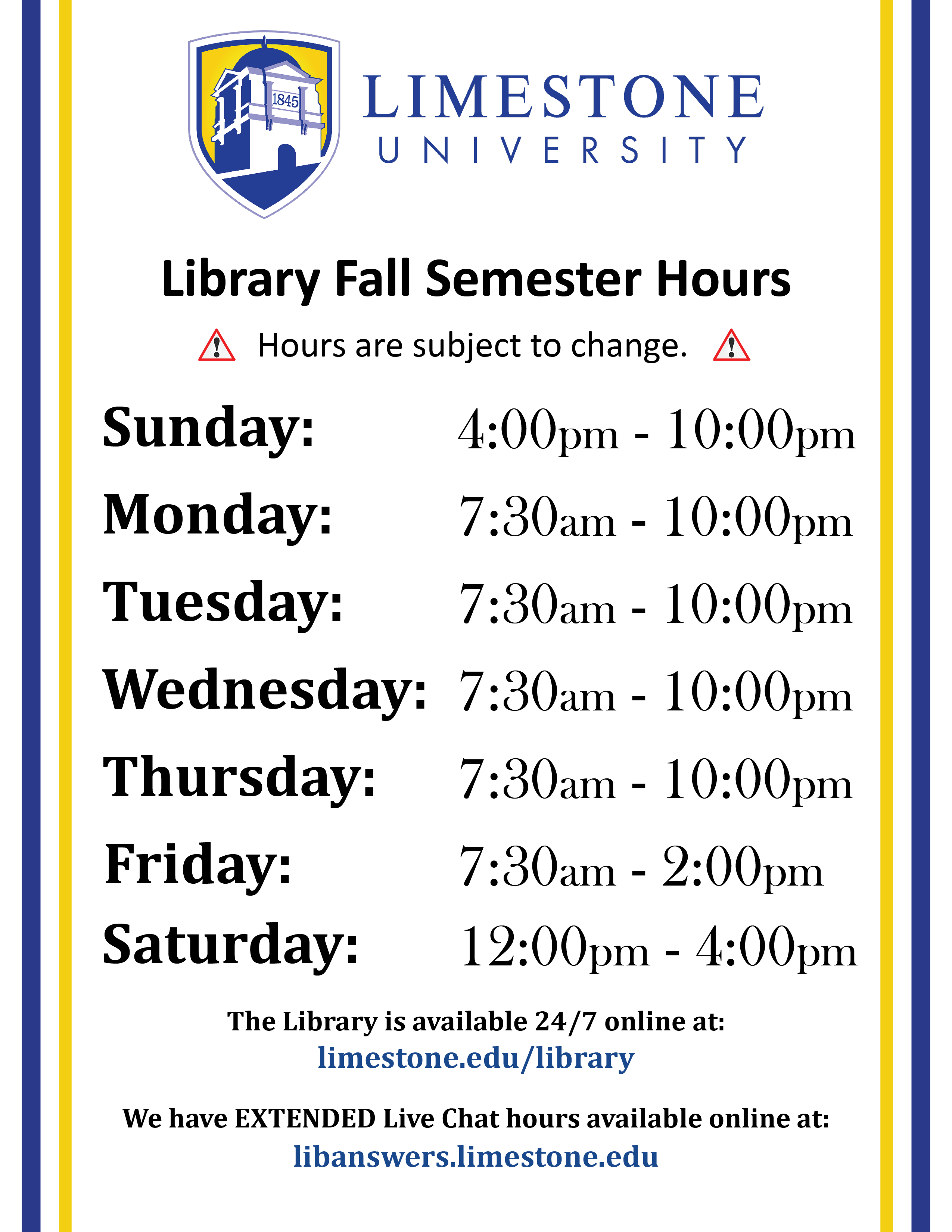 Library Fall Hours