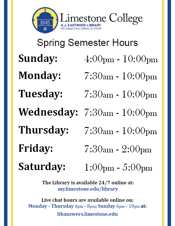 Library Spring Semester 2020 Hours