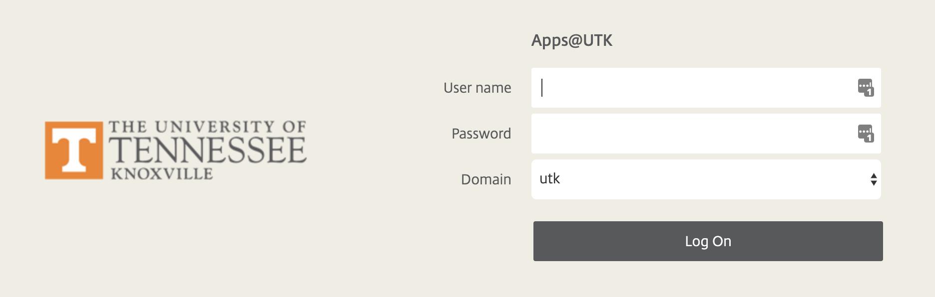 Image of log-in screen for Apps@UTK.