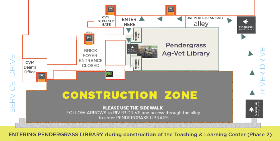 Picture of map leading into Pendergrass Library. On River Drive, use the pedestrian gate that is between  Pendergrass Library and the College of Veterinary Medicine hospital. Entrance to Pendergrass will be. on the left.