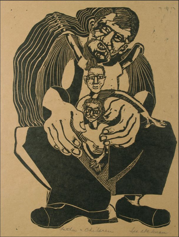 Ida Abelman, Father and Children, 1935-1942, linoleum cut