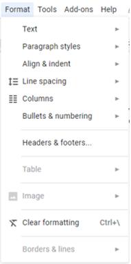 Docs format menu