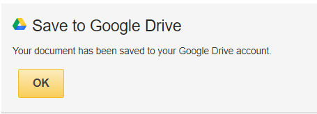 Saved to Google Drive confirmation message