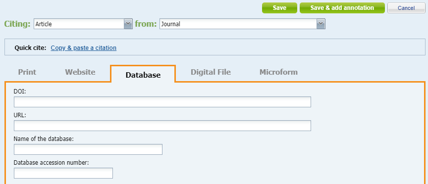 part one of citing a database article