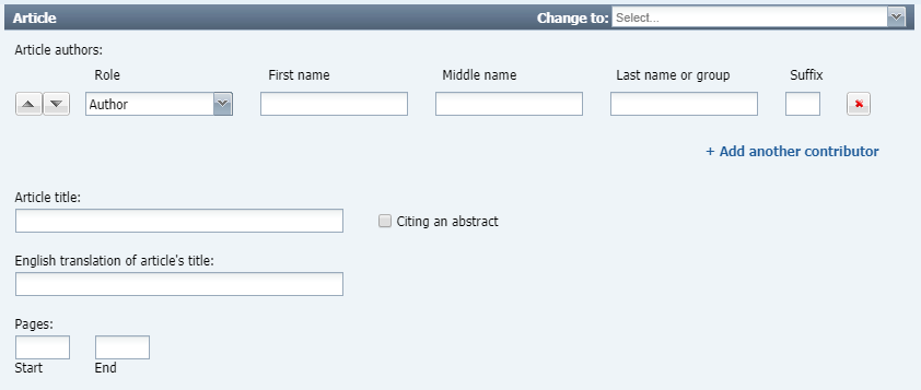 Part two of a database article citation form