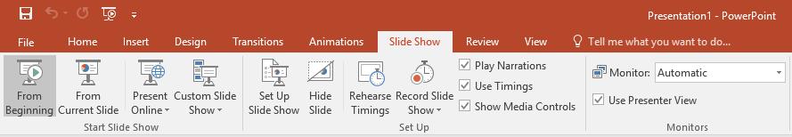 powerpoint slide show tab menu