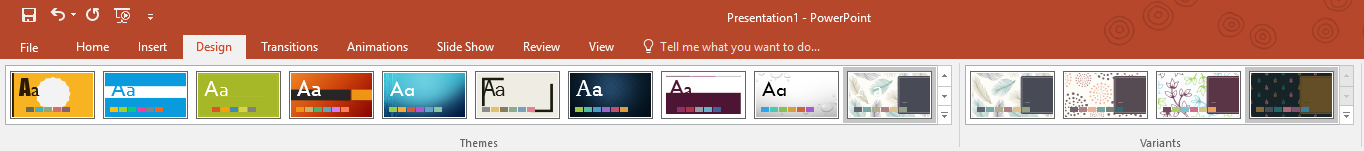 PowerPoint design ribbon