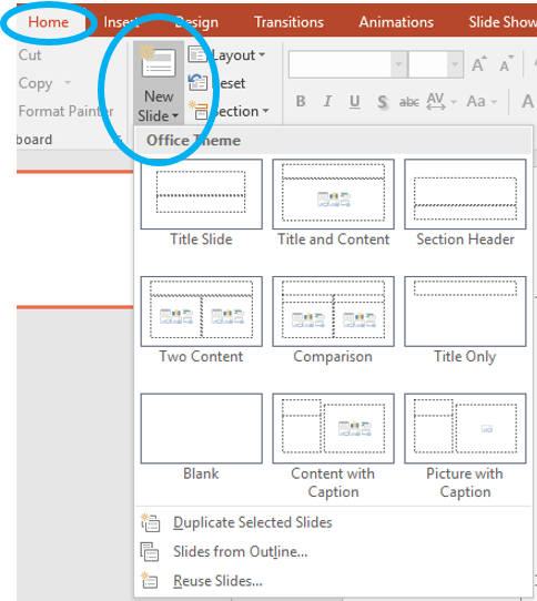 Adding a new slide and choosing its layout in PowerPoint