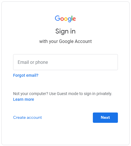 Sign in to Google from the beginning