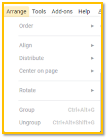 Google Slides arrange menu
