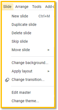 "Google Slides ""slide"" menu"