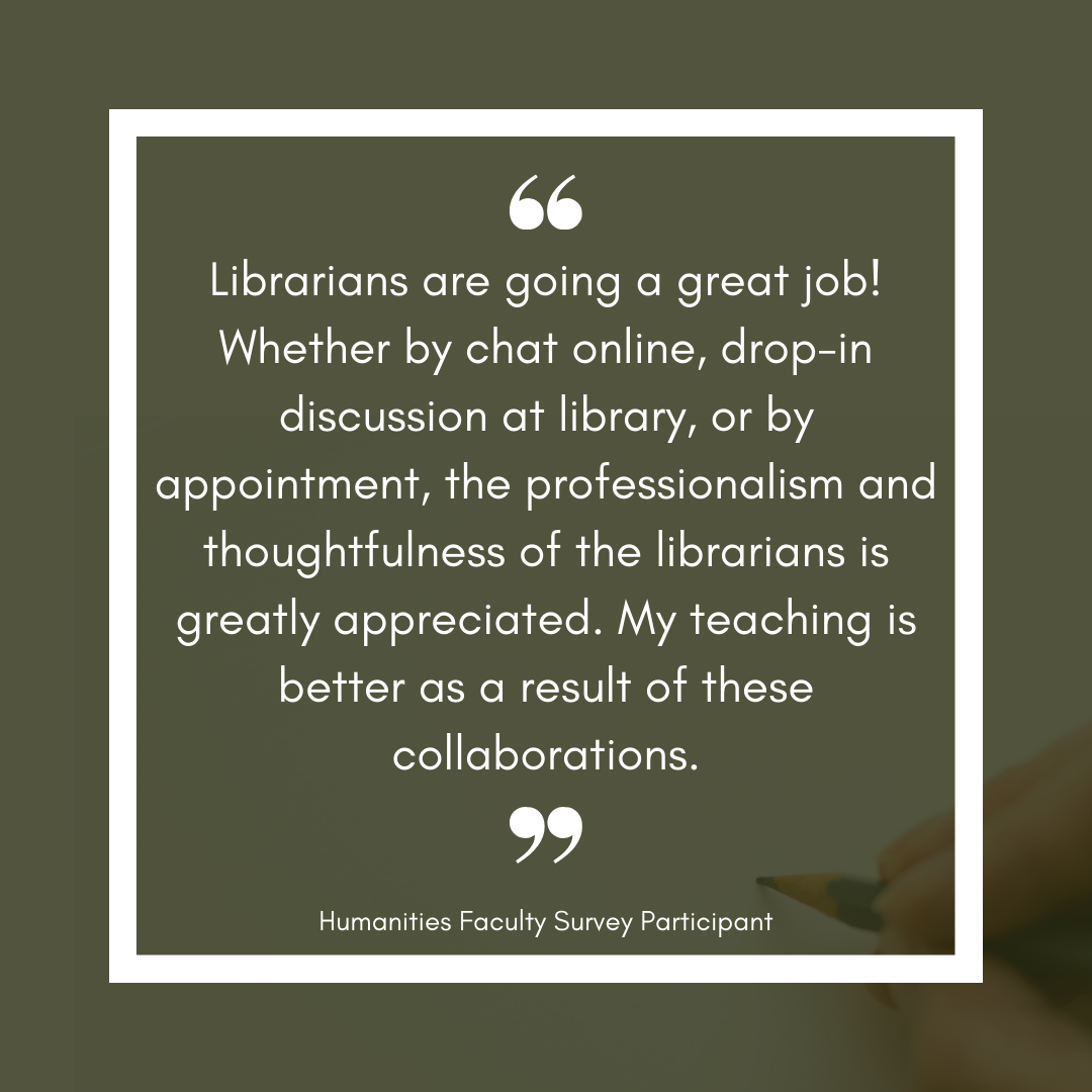 Humanities faculty says their teaching is better as a result of collaboration with the library.