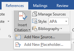 Insert citation menu