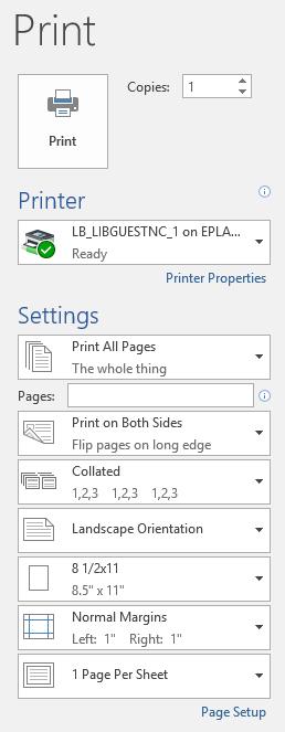 Printing in word