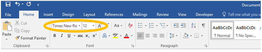 Format font in MS Word