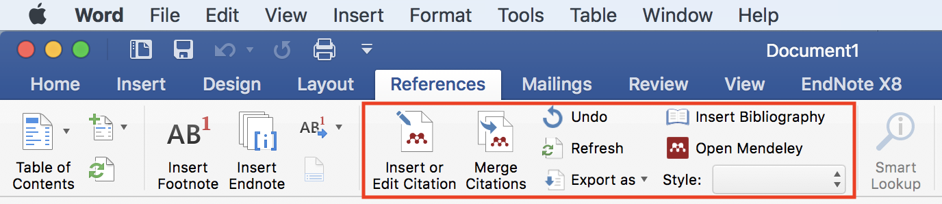 Microsoft Word References Tab with Mendeley Toolbar highlighted