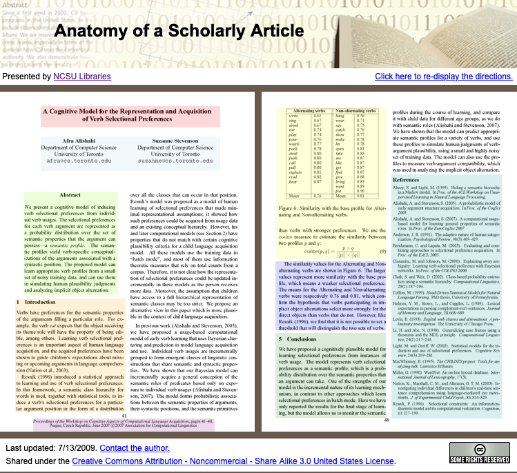 screenshot of the interactive Anatomy of a Scholarly Article website