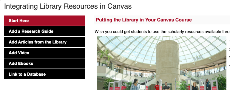 Integrating Library Resources in Canvas Research Guide