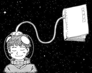 Drawing of library reader in space