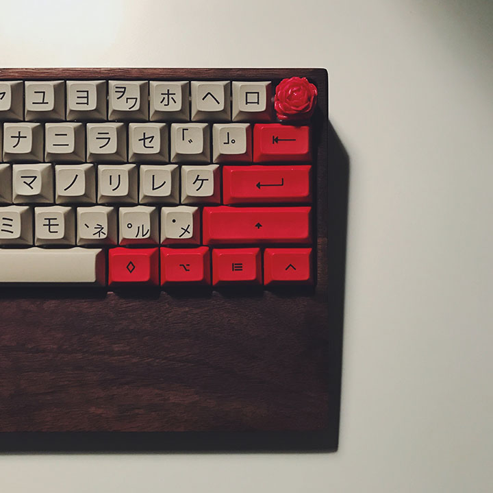 Image of Japanese Keyboard with red and white keys