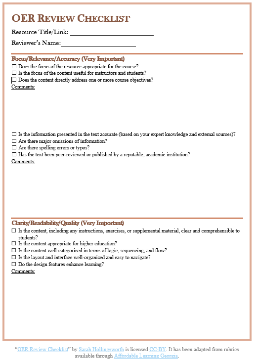 thumbnail image for OER Review Checklist