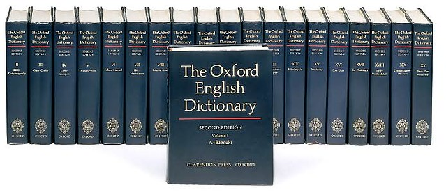 Image showing the complete 20 volume set of the Oxford English Dictionary.