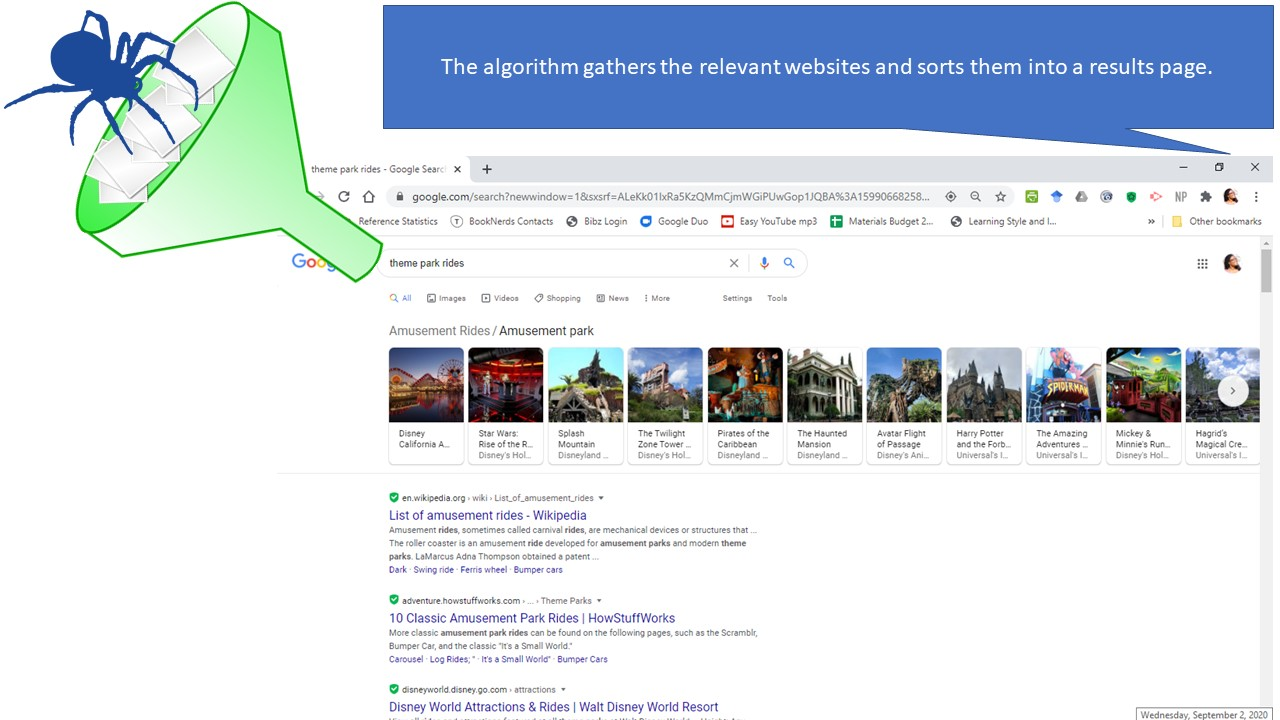 Results page of Google search