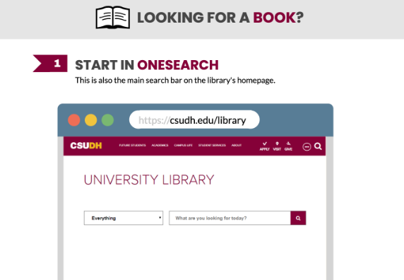 Preview of Looking for a Book? Start in OneSearch.