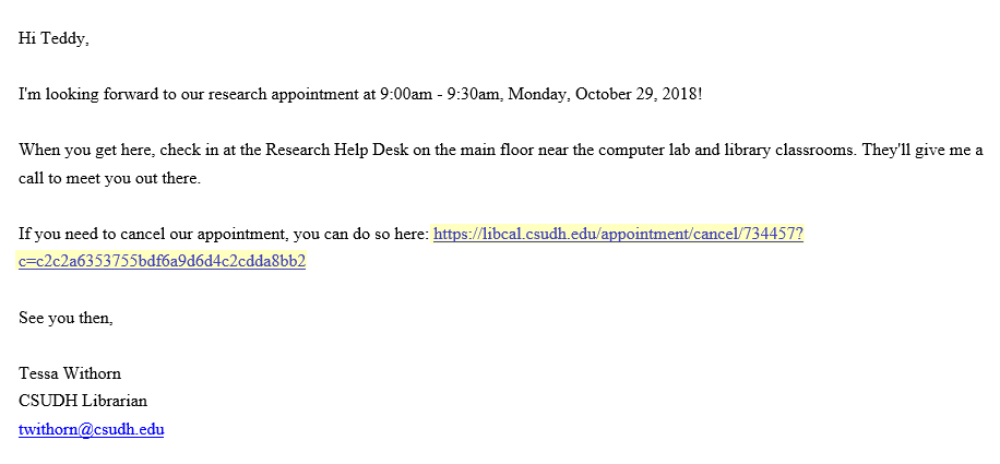 Screenshot of a research appointment confirmation email. If you need to cancel our appointment, you can do so here, with link highlighted.
