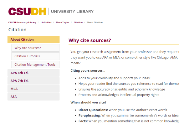 Preview of CSUDH Library Citation guide.