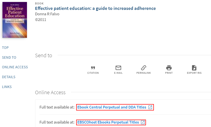 Library ebook Effective patient education with blue resource links to ProQuest and EBSCO highlighted under Access Online.
