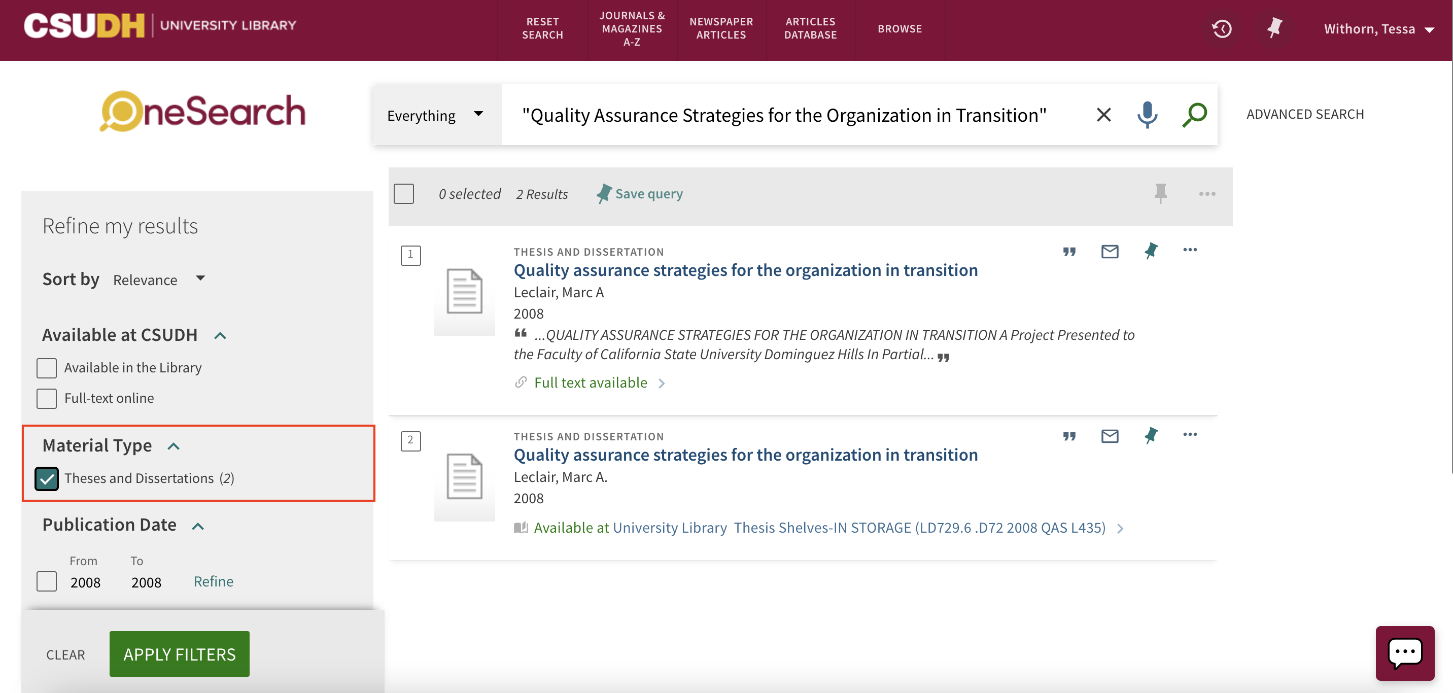 Screenshot of OneSearch with Material Type Theses and Dissertations highlighted.
