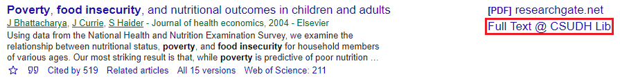Article result in Google Scholar with Find It @ CSUDH Lib highlighted.