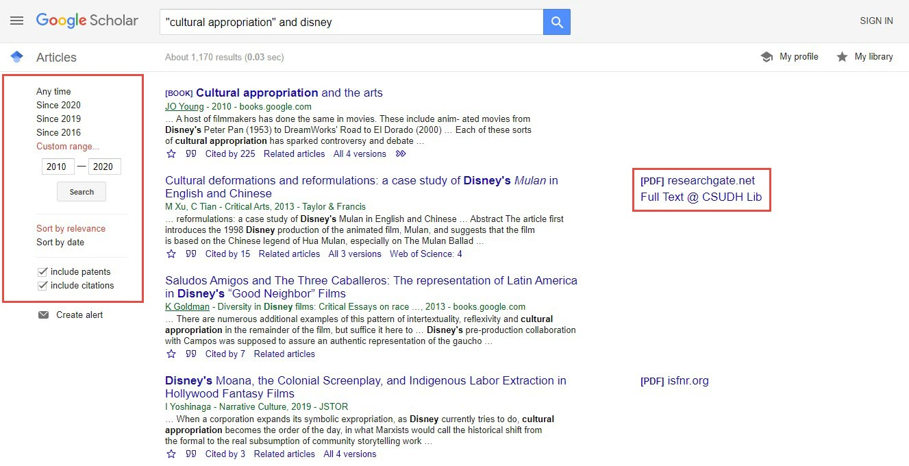 "Example search in Google Scholar for ""cultural appropriation"" and Disney with date filters highlighted on the left and full text links highlighted on the right."