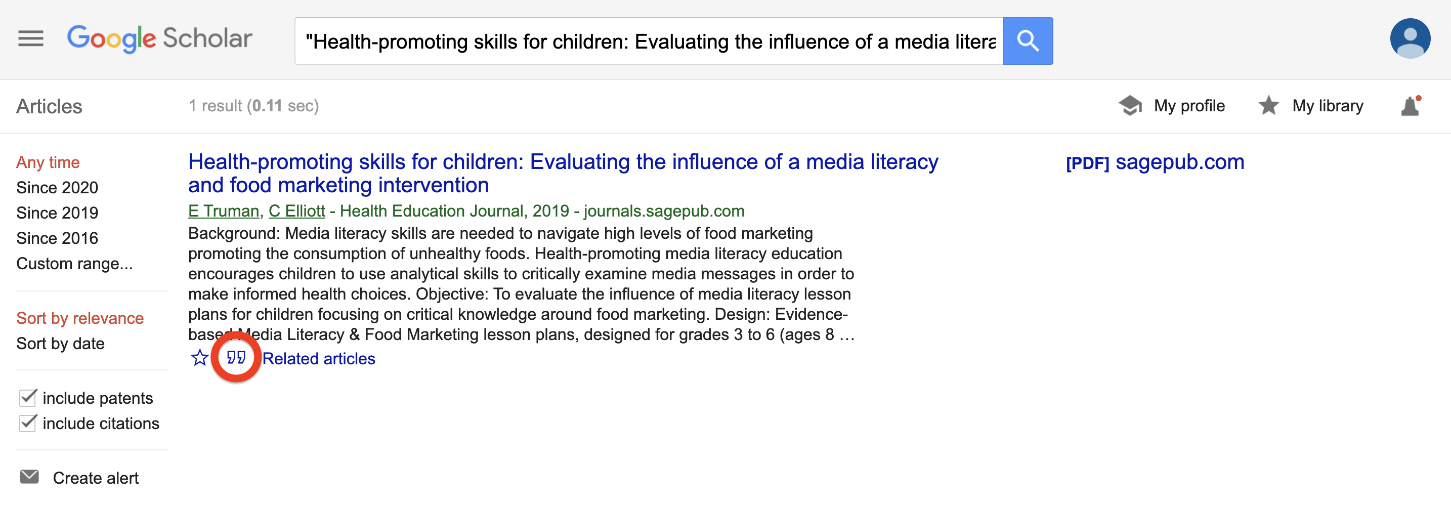 Google Scholar search for article with cite button highlighted.