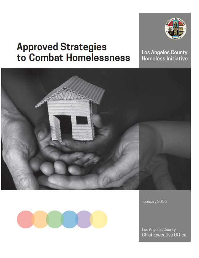 "Image of government report, ""Approved Strategies to Combat Homelessness"" Los Angeles County Homeless Initiative."