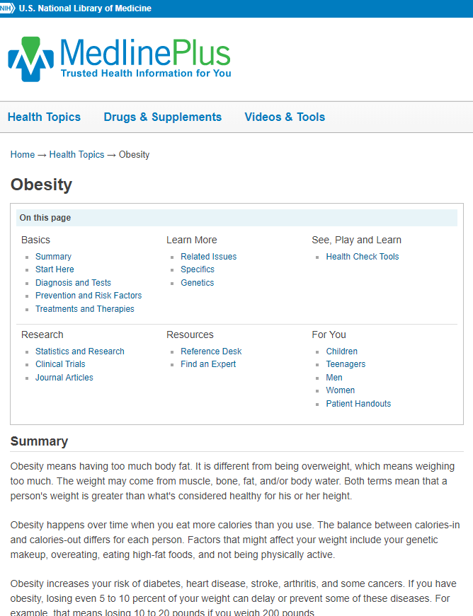 Image of MedlinePlus topic page on Obesity.