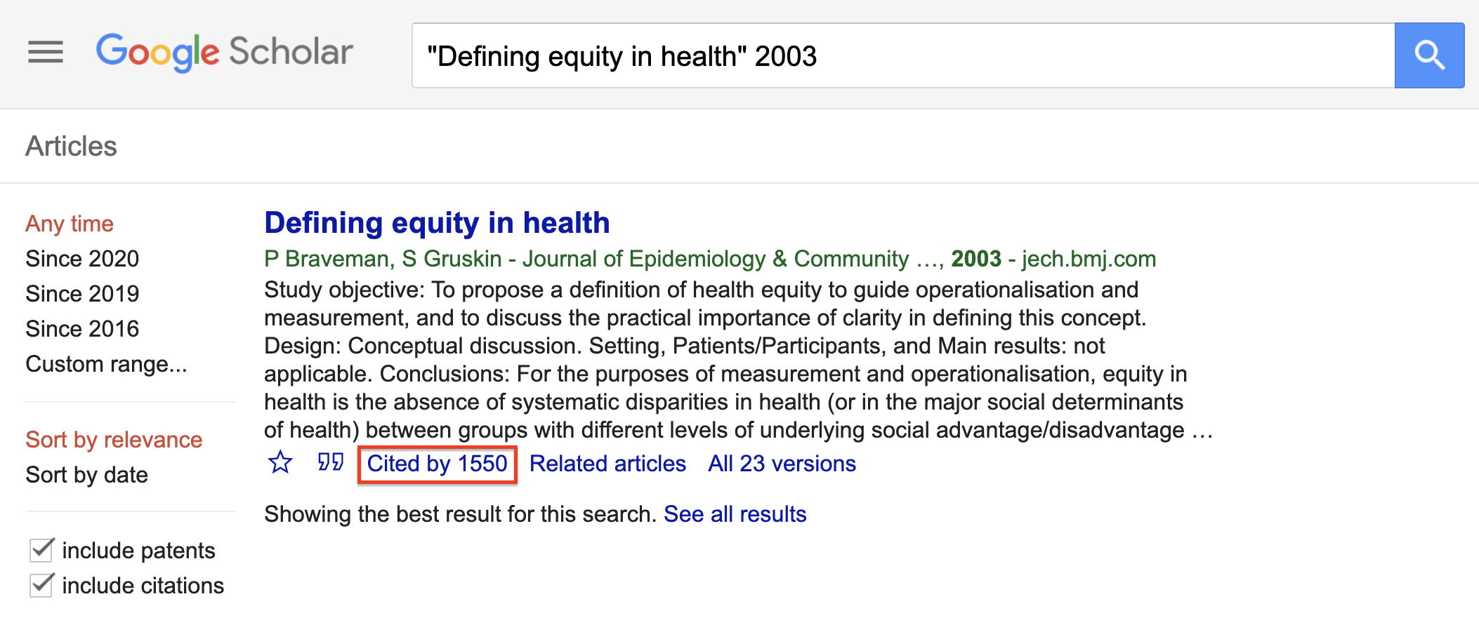 Google Scholar search for an article with the Cited by link highlighted.