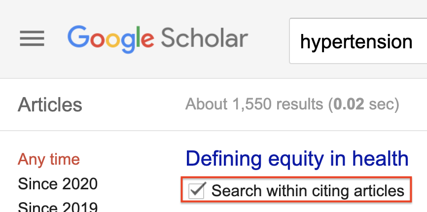 Google Scholar cited by search with keyword hypertension and Search within citing articles check box highlighted.
