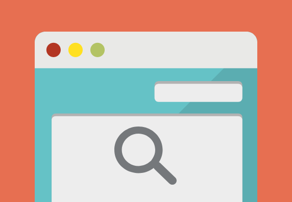 Web browser with tab and search icon.