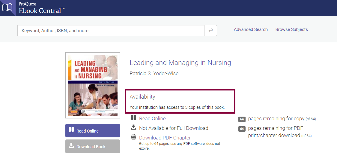 Leading and Managing in Nursing ProQuest Ebook Central. Availability. This institution has access to 3 copies of this book.