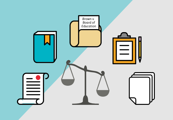 Preview of Legal Sources video with scale surrounded by document, book, folder, clip board, and paper icons.