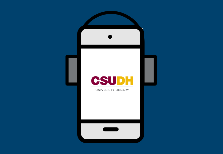 Mobile phone with headphones and CSUDH Library logo on the screen.