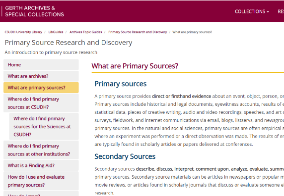 Preview of Gerth Archives Primary Source Research and Discovery Guide